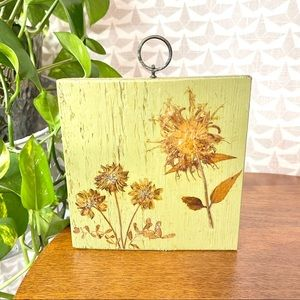 Vintage Dried Flowers Painted Wood Wall Hanging